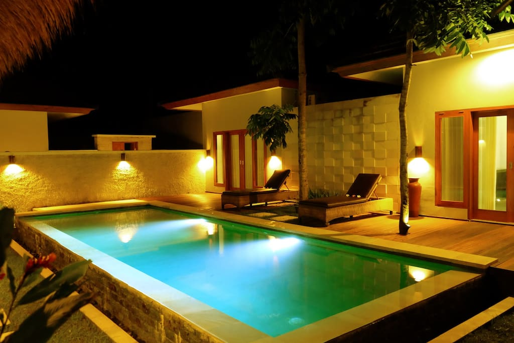 Private Pool with Lights