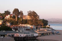 Capitola Village at sunset.