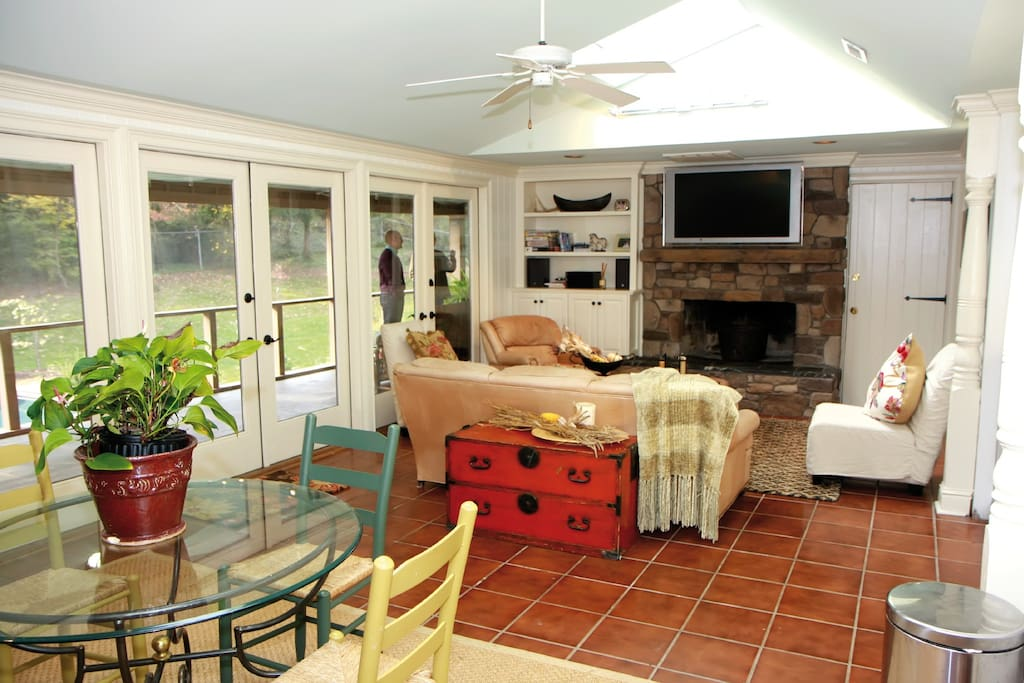 Open family room and dining table