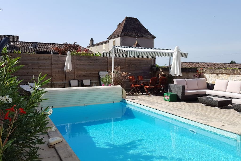 Pool and terrace in full sun throughout day but shade is available in great supply