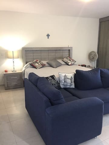 1 king size bed and sofa