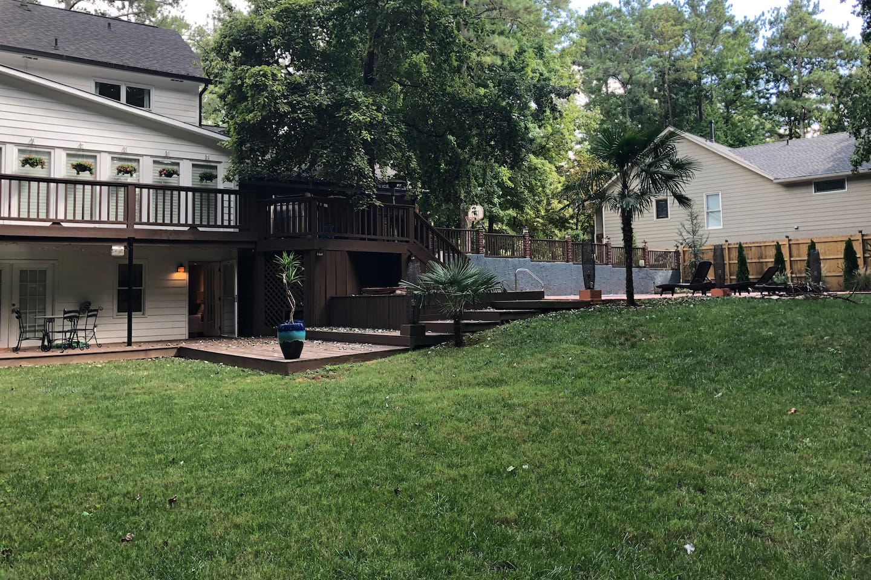 Spacious back yard and pool