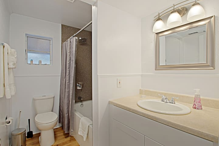 Bathroom from one available unit; see our listing link to view each unit in this complex!