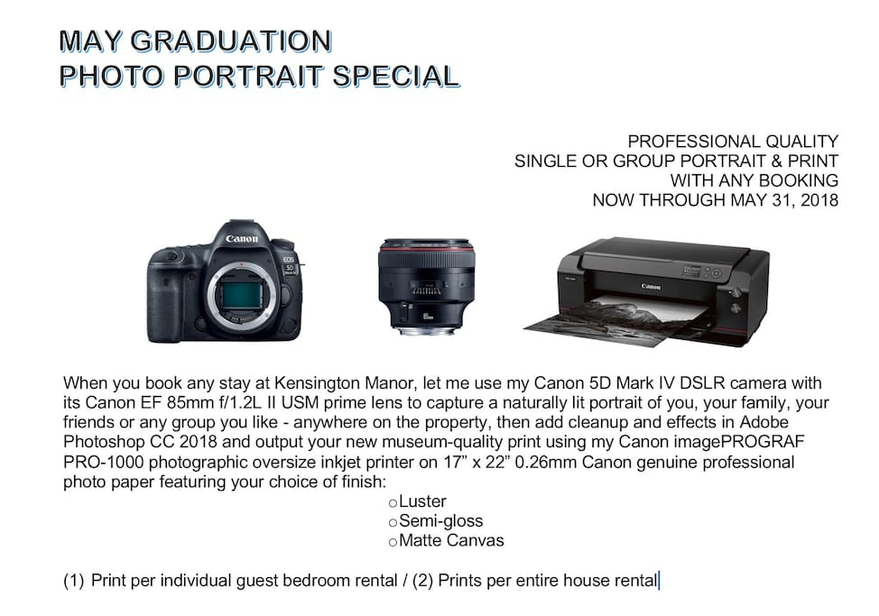 TAKE ADVANTAGE OF OUR MAY/GRADUATION PHOTO PORTRAIT SPECIAL - BOOK TODAY!!!