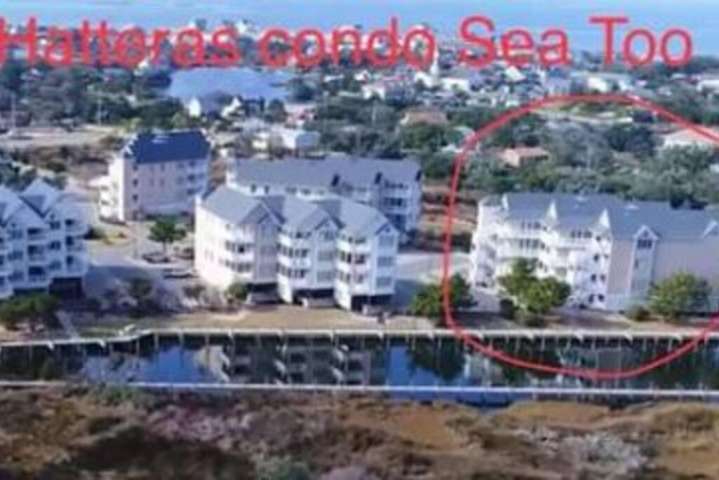 Aerial view of condominium complex
