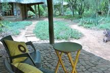 Private verandah outside chalet