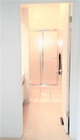 Private Bathroom: Upstairs, 1st door to the left