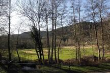 paysage devant la maison, avec la petite rivière de la Plaine