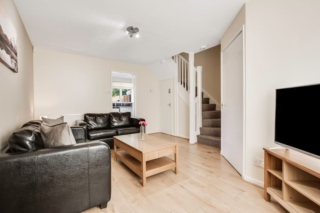 """Large lounge with 43"""" flatscreen TV with Freeview and super-fast wireless Internet."""