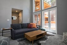 Floor to ceiling windows make this space bright and airy.
