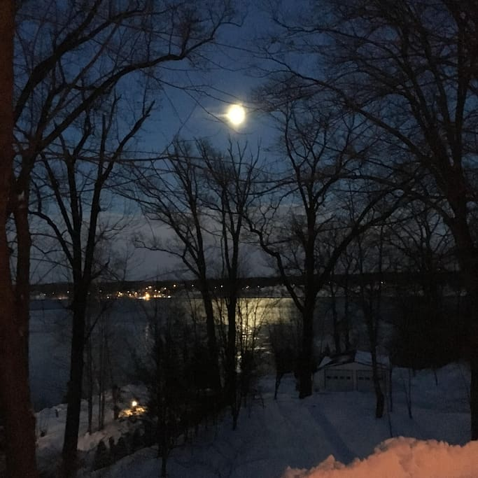 Moonlit view from our patio. Great for stargazing!
