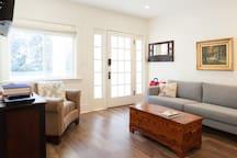 The front door and living room