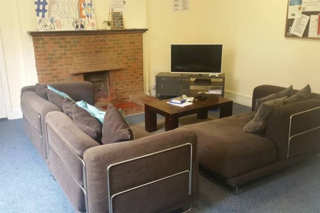 Sofas and TV in the Parkview common room.
