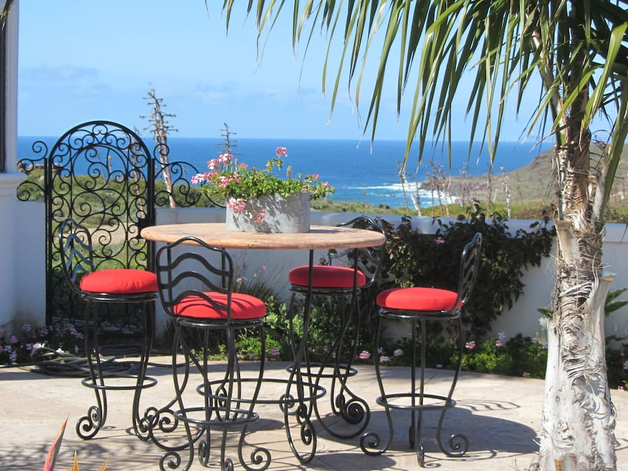 Front Yard Patio with view of ocean and mountains
