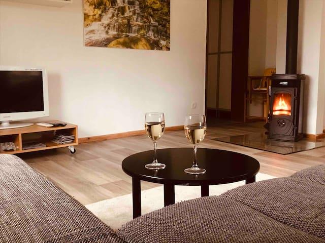 Gemütliche Wohnung mit Ausblick und Kamin!