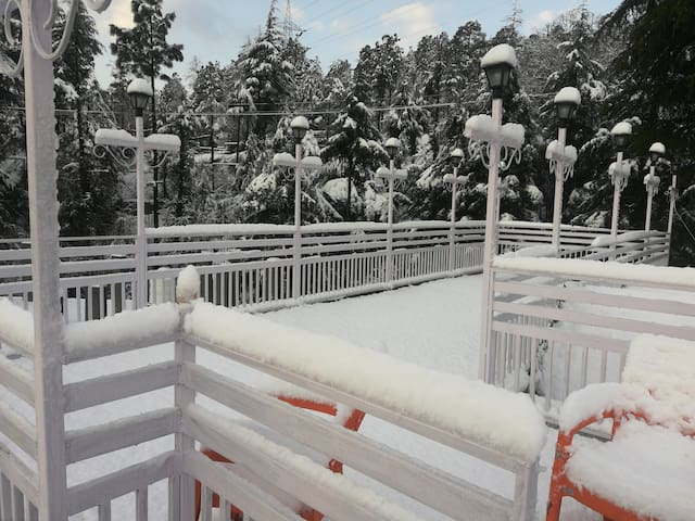 Top terrace during snowfall.