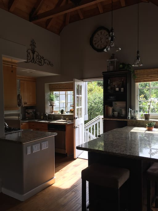 The view into the kitchen with giant island, the heart of the home