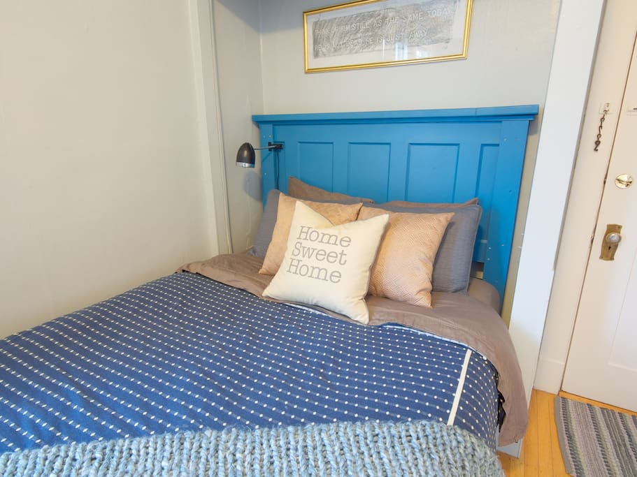 Big comfy Queen bed all ready for you!