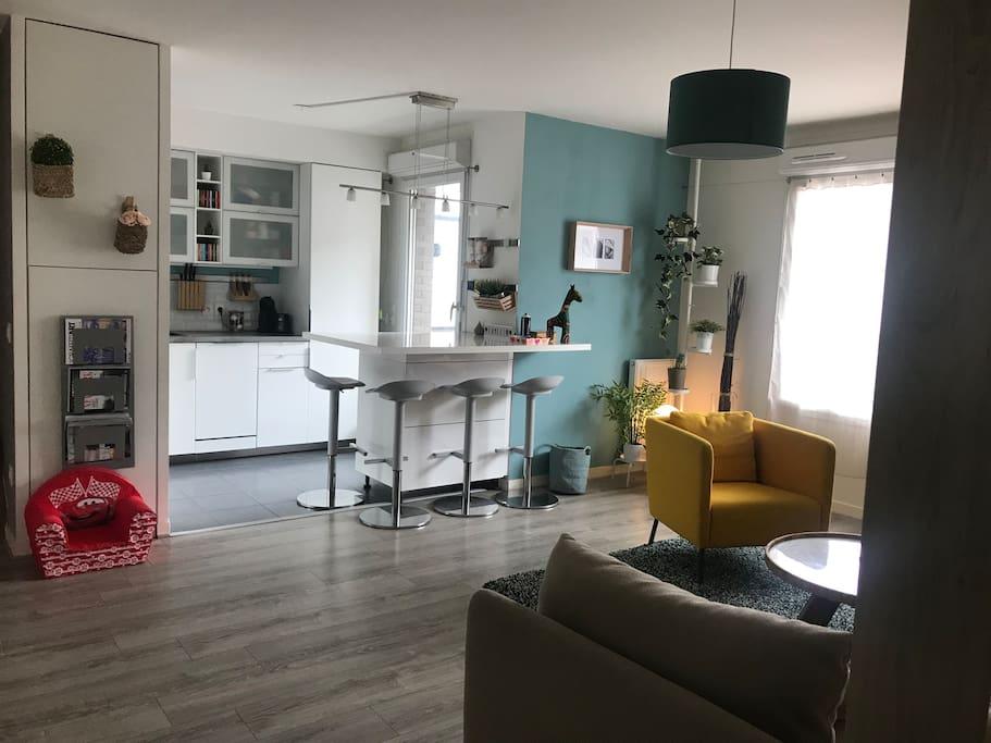 Salon et cuisine ouverte