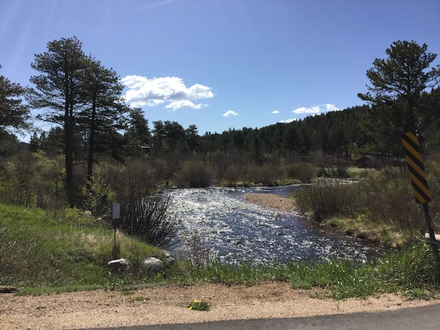 The South St Vrain river runs directly across the highway from the cabin.  A short walk ( about a block) to the bridge is a good fishing spot for rainbow trout.  Don't forget a fishing license though .