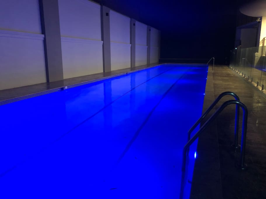20 metre lap pool beautifully lit at night