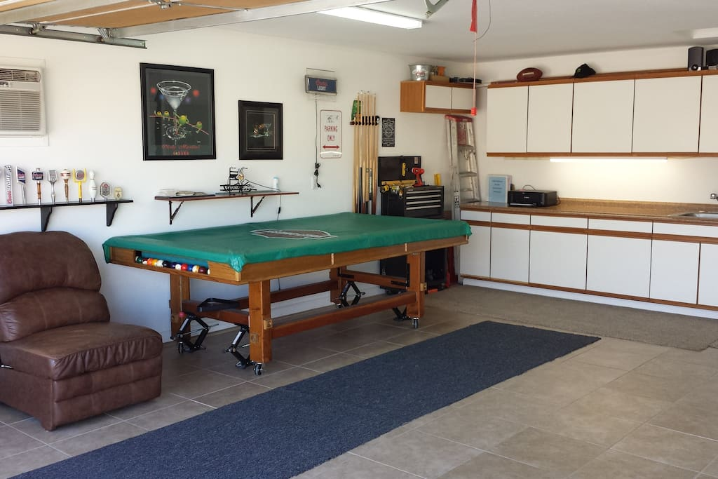Garage. We have added a shuffle board table (not Pictured)