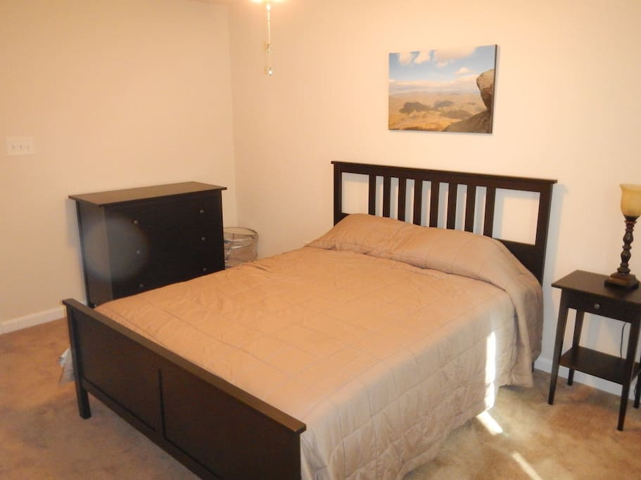 Queen Bed with dresser and night table