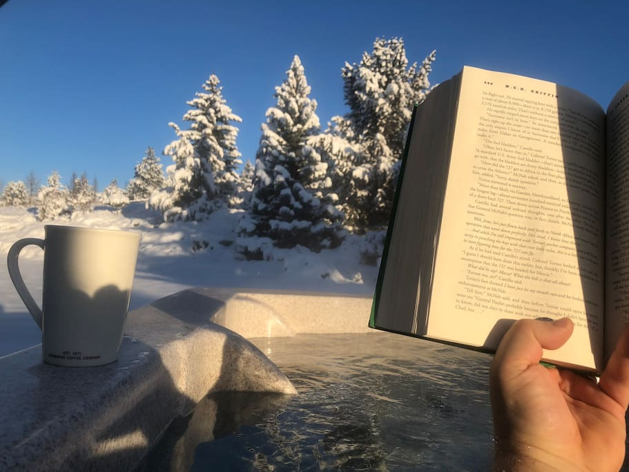 December 23, 2017 start to the day. A good read and a cup of coffee while soaking in the hot tub 5 feet from your door.