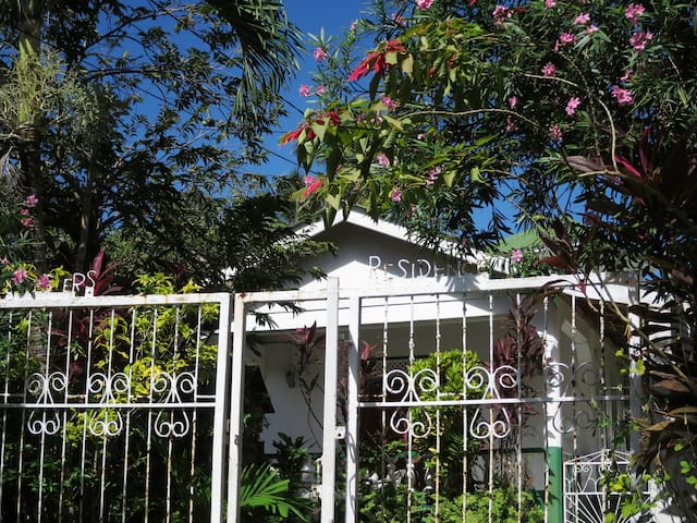 Entrance gate with flowers