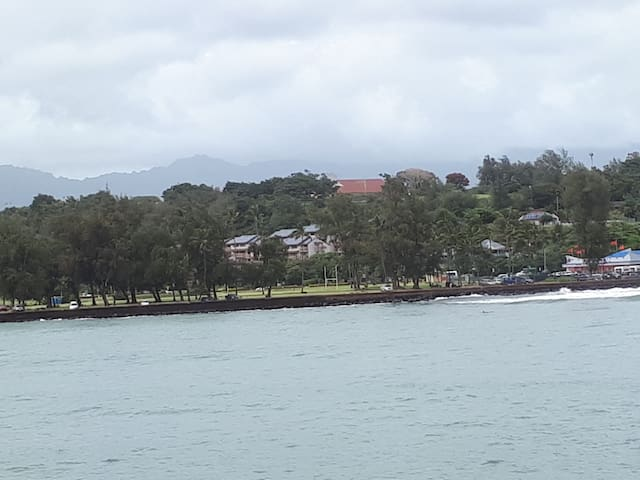 View of our resort from other side of Kalapaki Bay