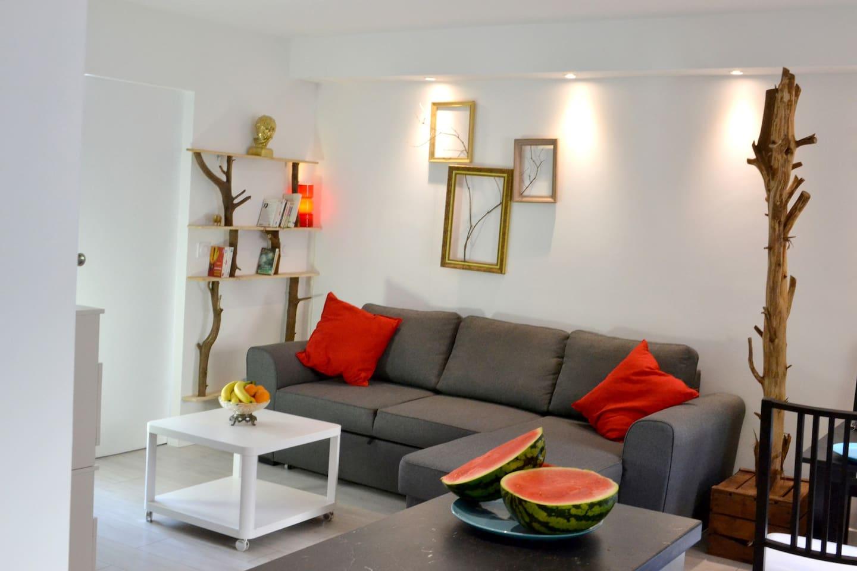 Le salon propice à la détente est ouvert sur la cuisine et est équipé WIFI et télévision écran plat