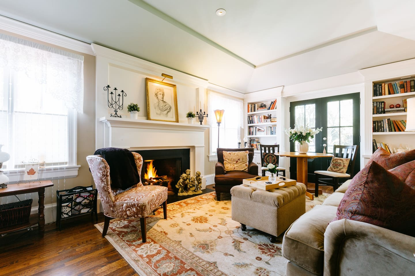 Living room with gas lit fireplace