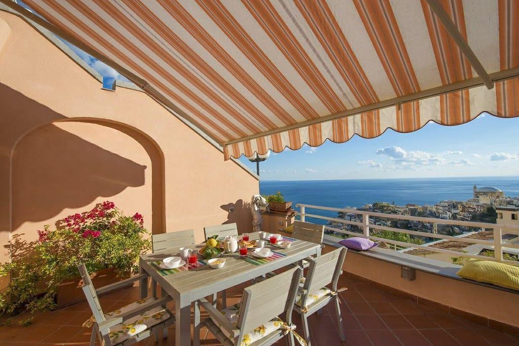 terrace overlooking positano