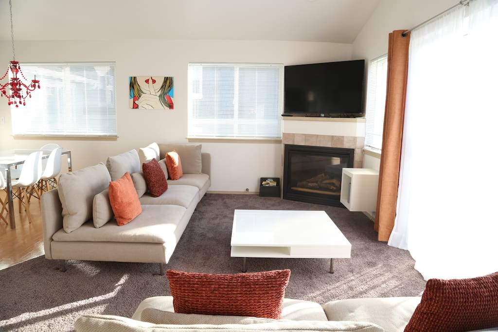 Gas fire and 55 inch HDTV