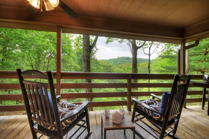 On Mountain Time is hidden away on 4 private acres with a hot tub and fire-pit.