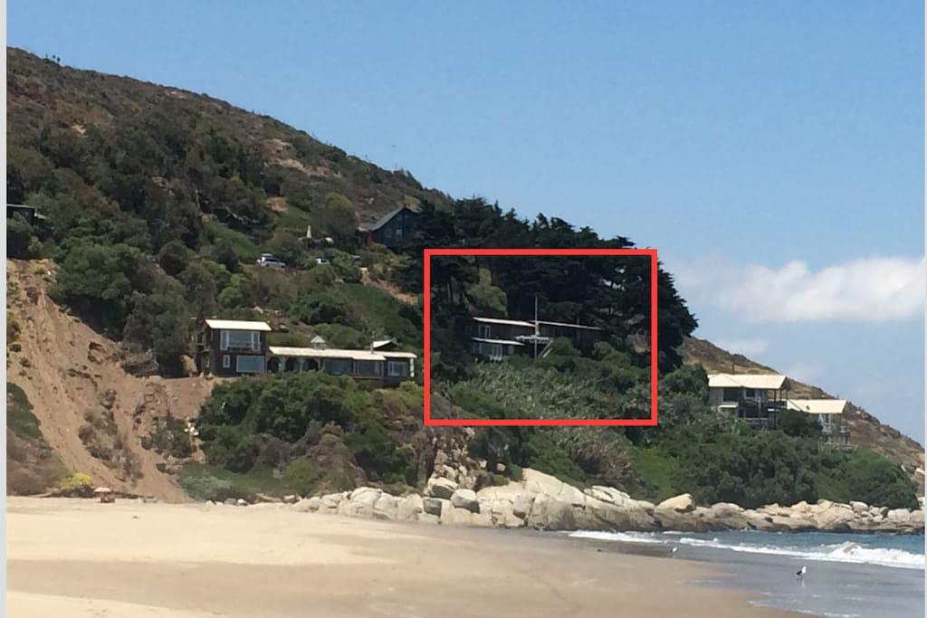 Casa vista desde la playa