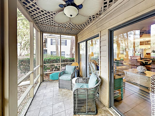 Sip morning coffee on the private screened patio with seating for 2.