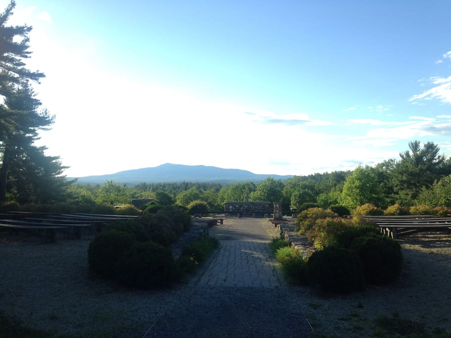 Scenic views of Mt Monadnock from nearby Cathedral of the Pines.