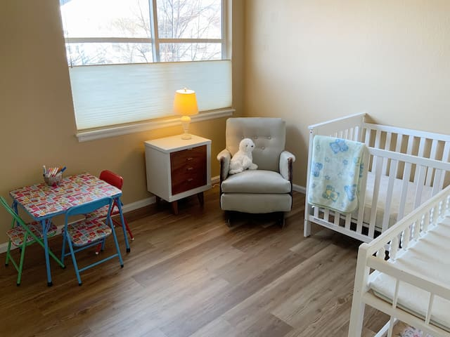 Crib, changing table and toddler table and chairs available.