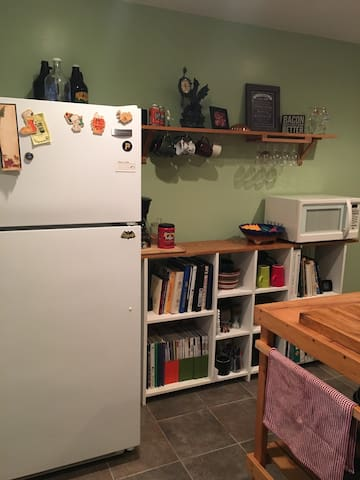 Kitchen with full size refrigerator