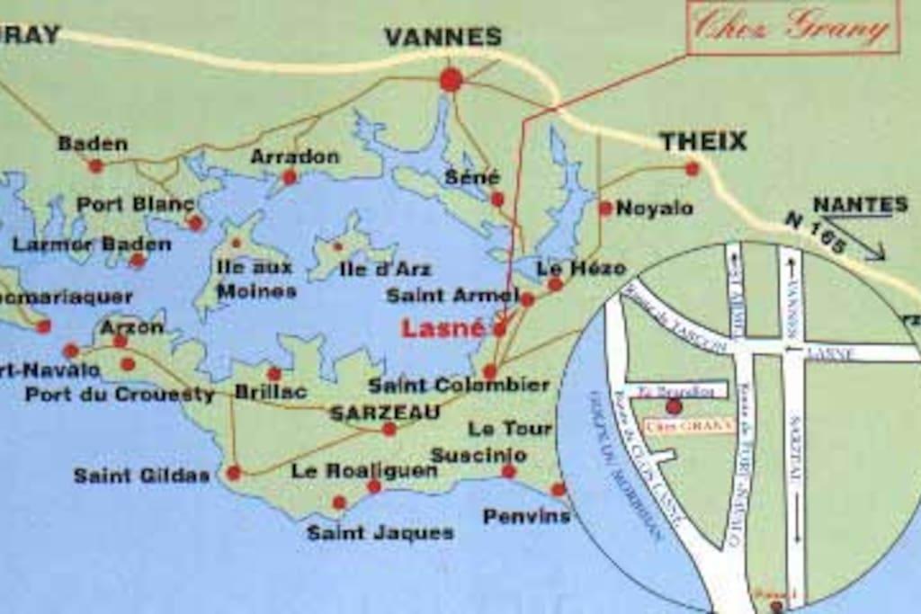 Position sur le Golfe du Morbihan Presqu'ïle de Rhuys
