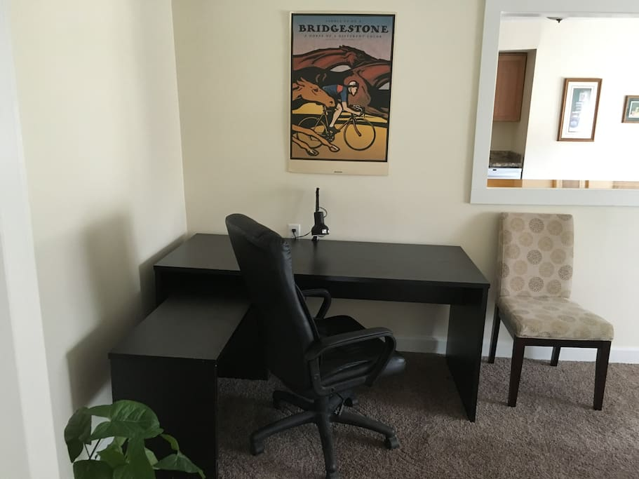 If you need to get work done, or meet with clients in Kenosha, this desk area is perfect.
