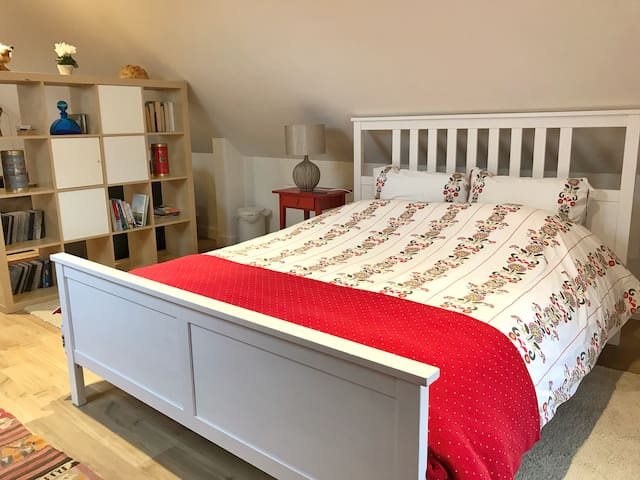 The Hayloft is a light and airy studio flat at the heart of our working farm.