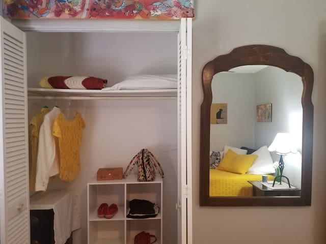 Full size mirror and closet with plenty of storage space for clothes and luggage.