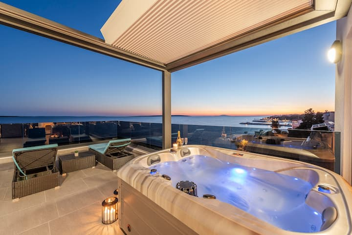 Mediteran, luxury penthouse with private jacuzzi