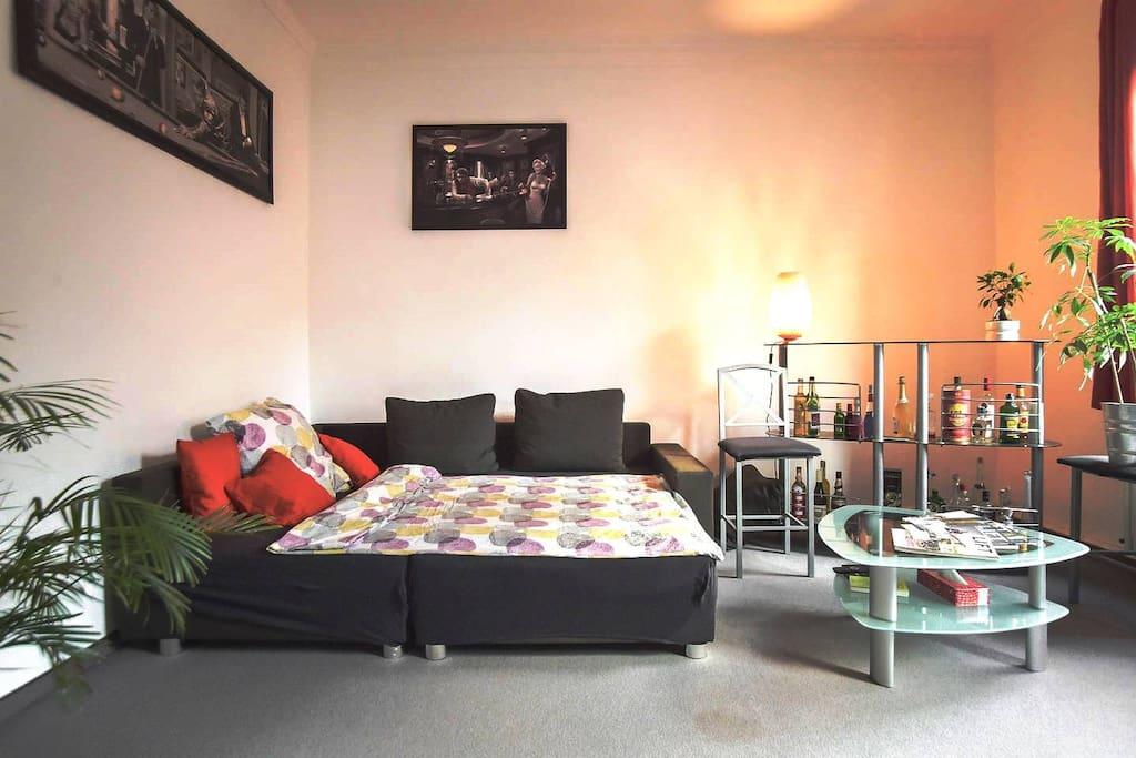 Dein Schlafzimmer mit sehr hellen Fenstern, TV, Schlafcouch und Ausrichtung zur Straße -  Your Bedroom with very bright Windows, TV, sleeping couch and Street view