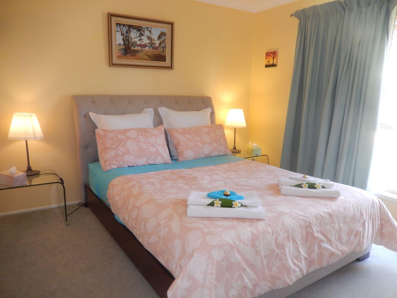 Bedroom 1 - Comfortable queensize bed with electric blanket in winter.