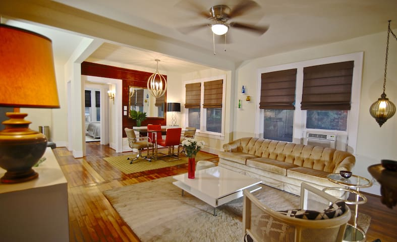 View of living/dining area from front door