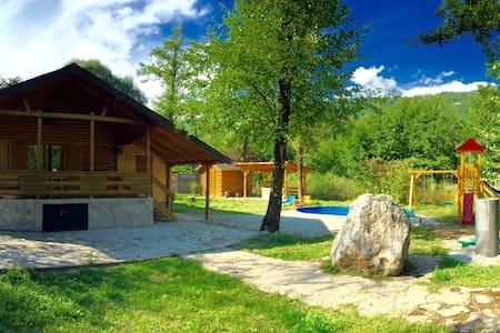 Idyllisches Haus am See mit Pool - Jezero - Blockhütte