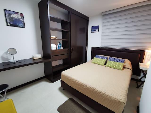 Bedroom 2. Double bed. LED lights or vintage lamp. Blackout and blinds. Large closet.